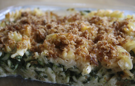 Macaroni met spinazie en Kees